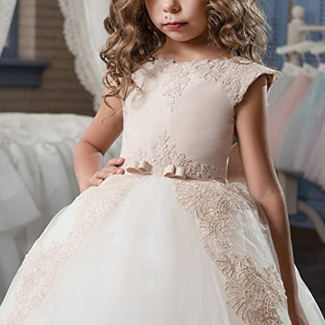 Amazon.com: OBEEII Kid Girl Vintage Lace Flower Tutu Dress Princess Graduation Junior Bridesmaid: Clothing