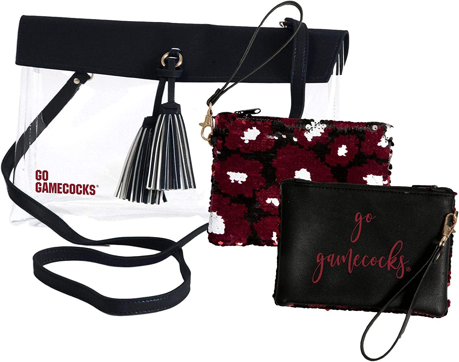 South Carolina Gamecocks Clear Handbag//Purse and Reversible Sequined Wristlet Combo with Vegan Leather Trim and Removable Straps