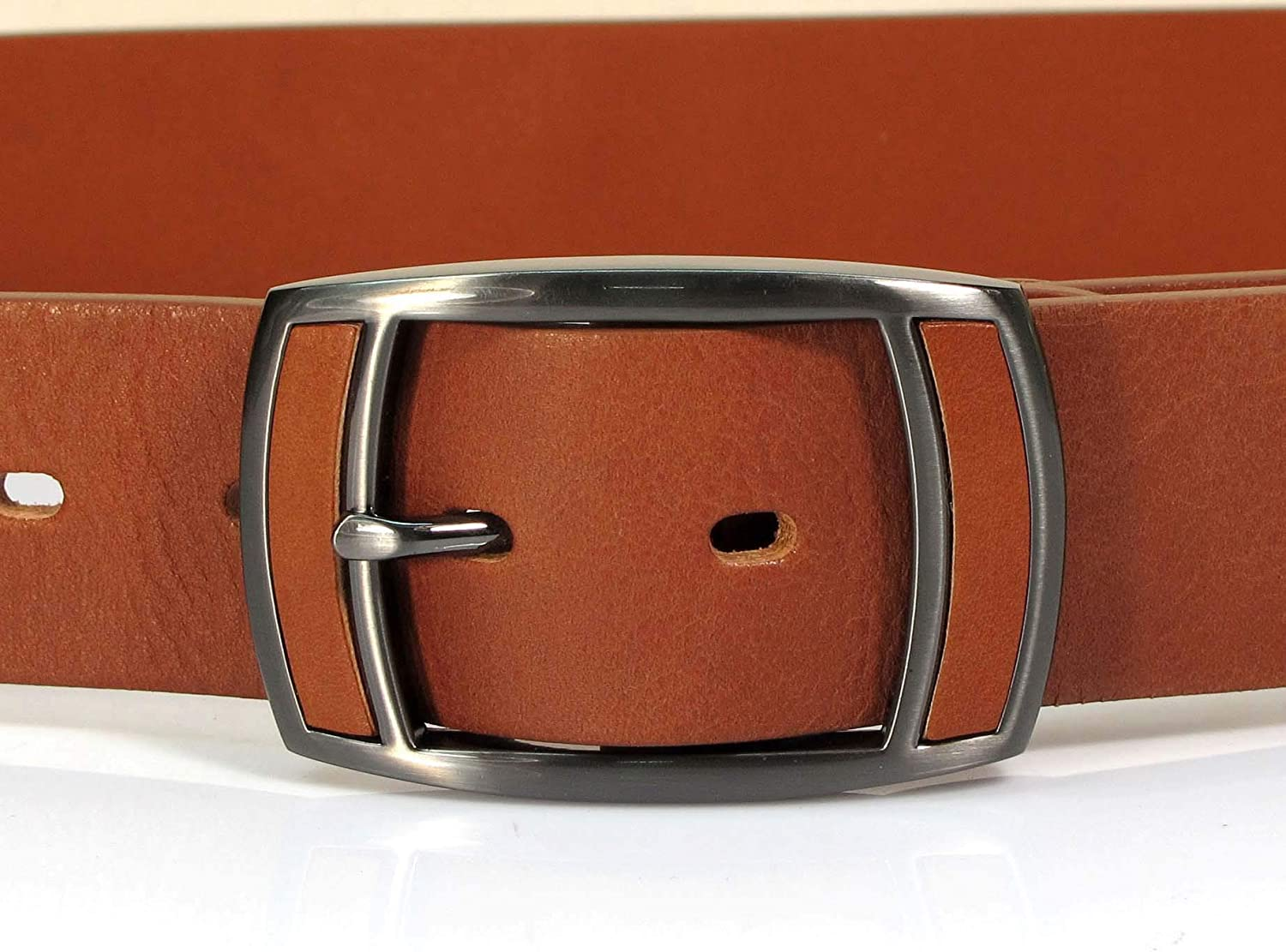 Mens Real Genuine Leather Tan Brown Belt 1.5 Wide S-L Thick Casual Jeans CM9