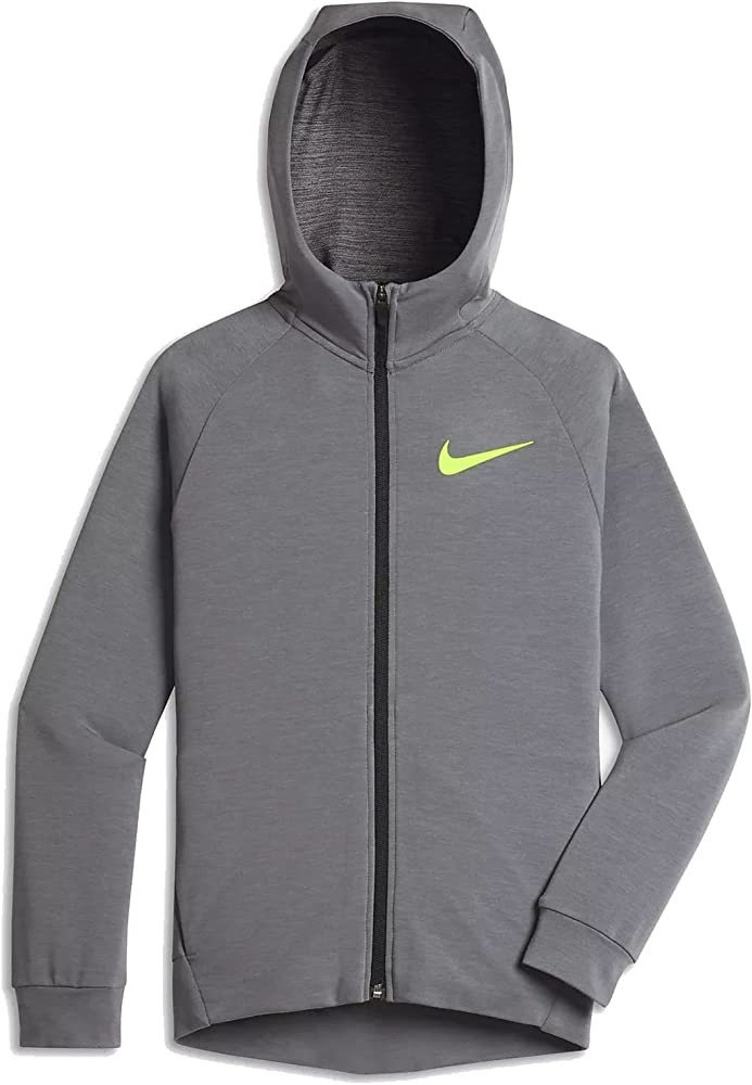 Nike Kinder Dry Trainingskapuzen Jacke, GrauNeongelb, S128