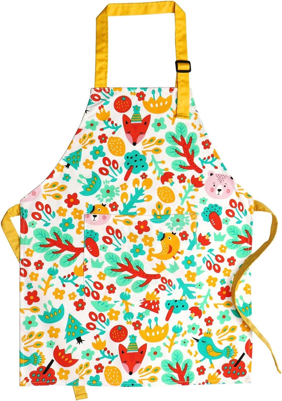 Kids Aprons, Cotton Children Aprons with Adjustable Neck Strap Child Chef Aprons