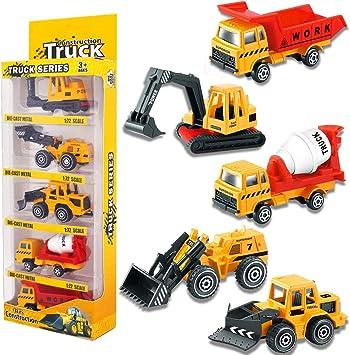 YIMORE Camiones de Construcción Juego de Mini Coches Juguetes ...