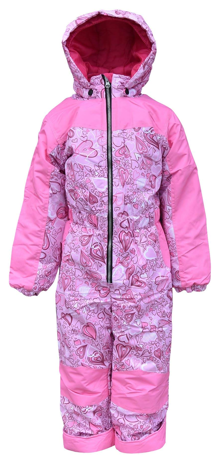 Snow Country Outerwear Toddler Girls 1 Piece Insulated Ski Snowsuit Coveralls (4T, Pink Hearts) by Snow Country Outerwear