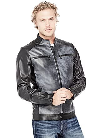 Guess Men S Faux Leather Biker Jacket At Amazon Men S Clothing Store