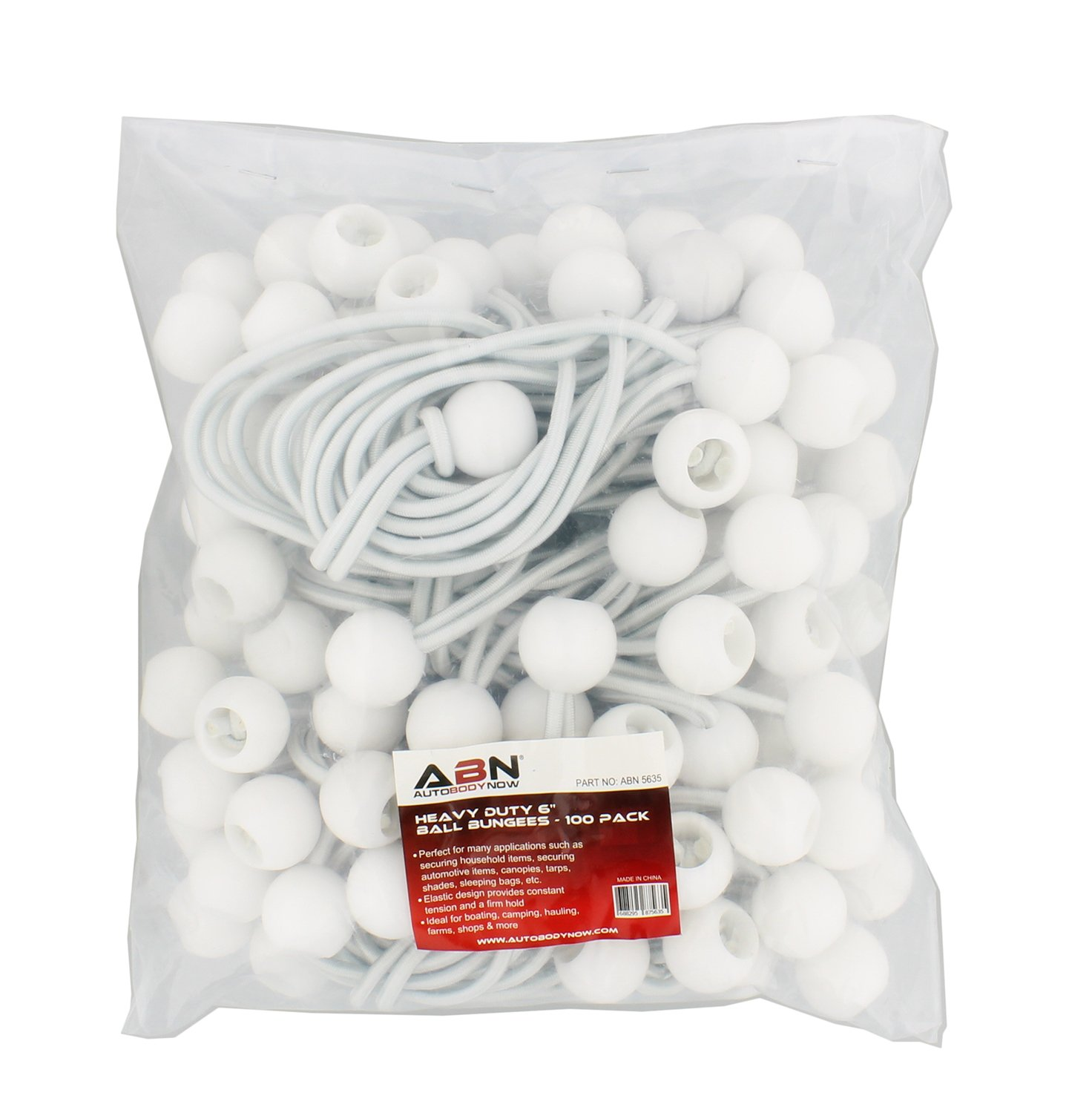 "Ball Bungee Cord 100 Pack ABN 6/"" Inch White Bungee Loops Small Bungee Cords with Balls Bungee Tie Downs"