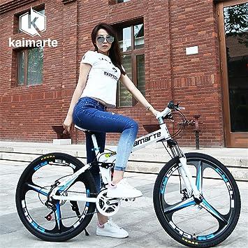 ZJDU Bicicleta De Montaña De Doble Freno con Frenos De Disco,Bicicleta Plegable Offroad Mountain Bike,Bicicleta Plegable con Llantas De 3 Radios, Hombres Y Mujeres Adultos: Amazon.es: Deportes y aire libre