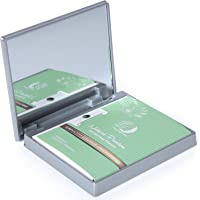 Makeup Mirror with Facial Oil Blotting Paper Sheets – Green Tea 100 Counts, Silver Compact Folding Cosmetic Travel…