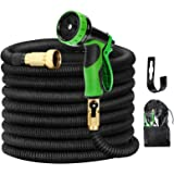 Kugoplay 100 ft Garden Hose 9 Patterns - Pressure Expanding Hose with Leakproof Solid Brass Fittings, Flexible Stretch Water