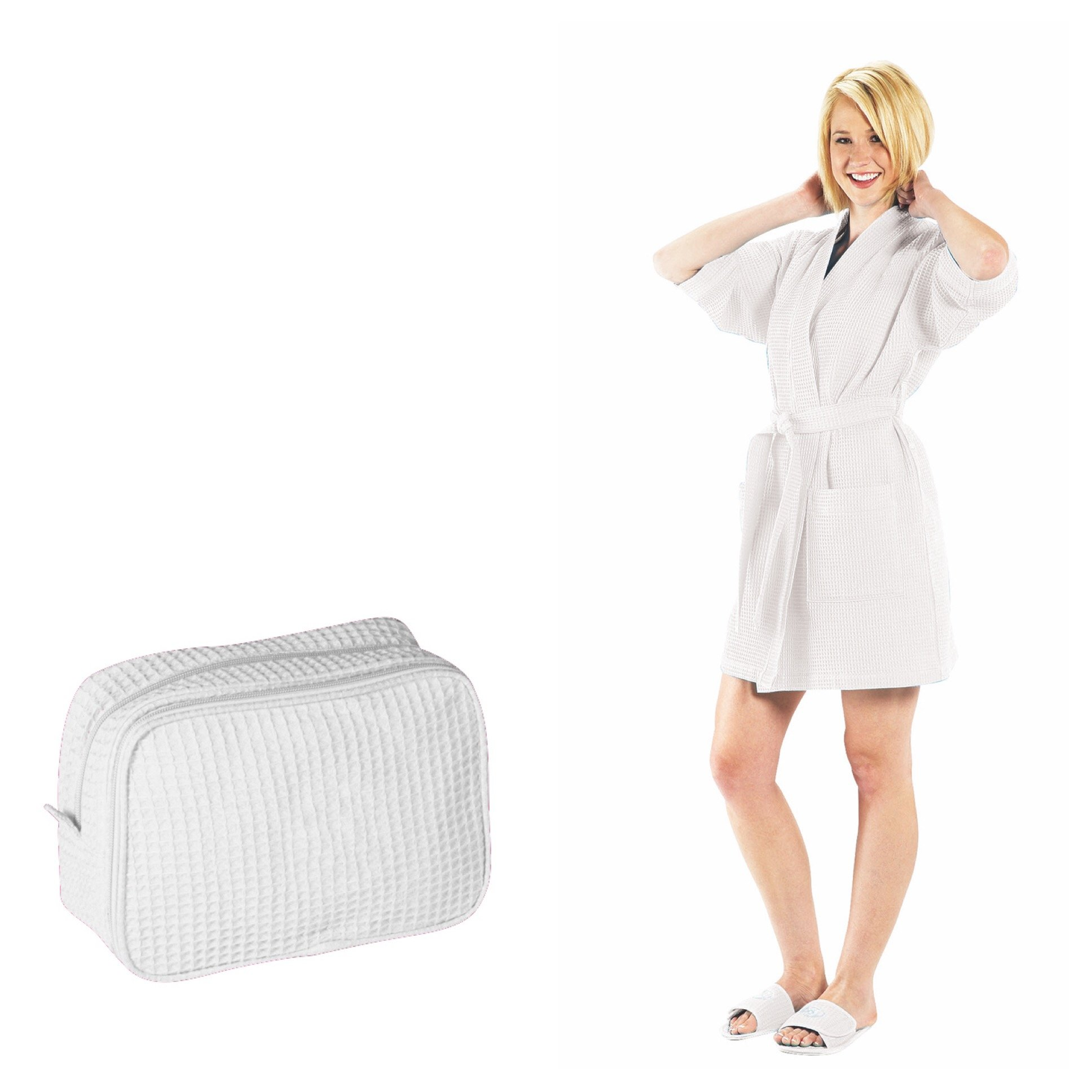 NobleHomeShop Women's Waffle Weave Thigh Length Bathrobe and Make-Up Bag (BUNDLE! Perfect For College!) (One Size, White)