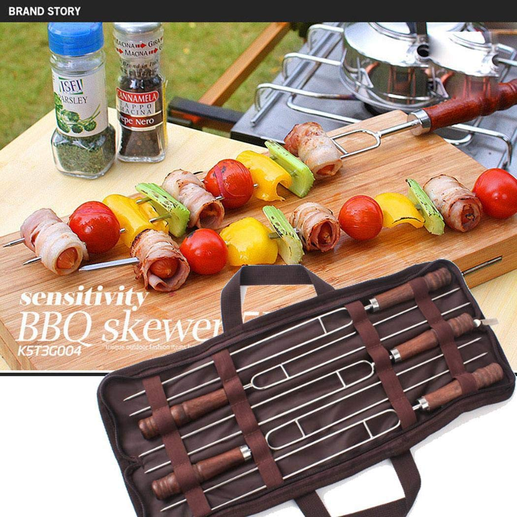 lantusi 5PCS BBQ Telescoping Forks U Shape Roasting Sticks Barbecue Tool Barbecue Forks