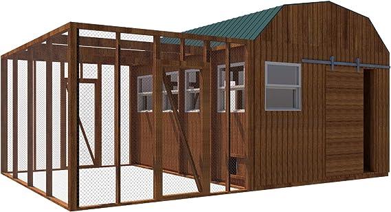 Construir su propio 12 x 16 gallinero (DIY) Fun Planes para construir: Amazon.es: Jardín