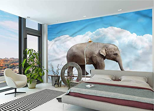 Amazon Com Lcggdb Elephant Wall Mural Decal Animal On String Peel And Stick Self Adhesive Wallpaper For Livingroom Bedroom Nursery School Family Wall Decals 118x83 Inch Home Kitchen
