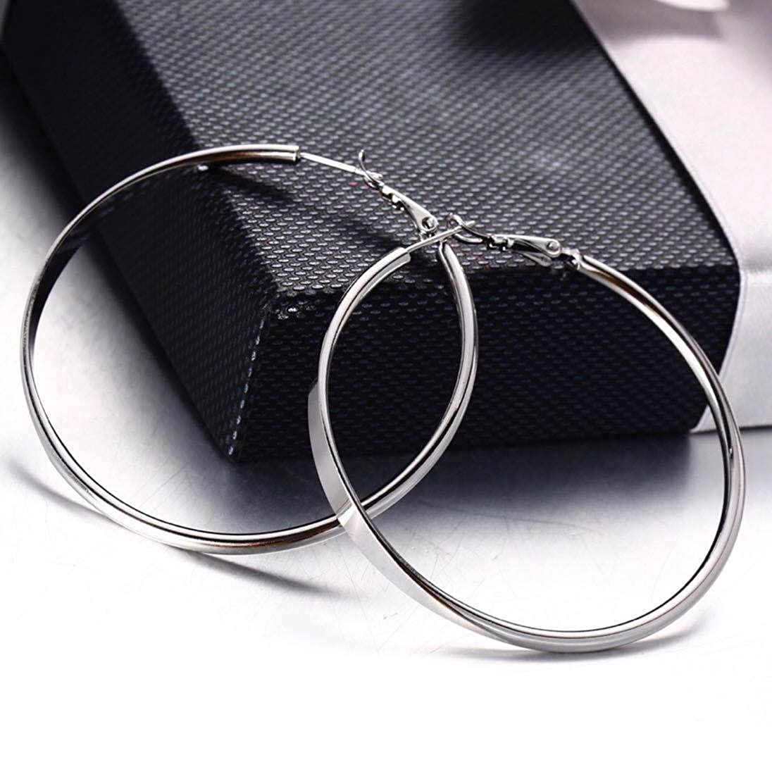 uPrimor Rhodium Plated Medium to Large Size Hoop Earrings 35mm to 60mm Avaliable Loop Earrings for Women and Girls