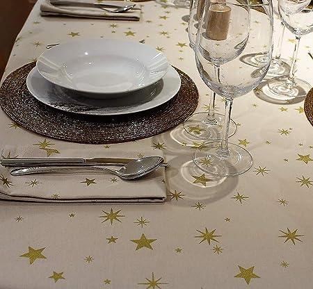 COTTON ARTean Mantel Cuadrado 150 X 150 ESTRELLITAS Doradas. Fondo Beige Claro con Estrellas Doradas. ALGODÓN 100%. SIN SERVILLETAS.: Amazon.es: Hogar