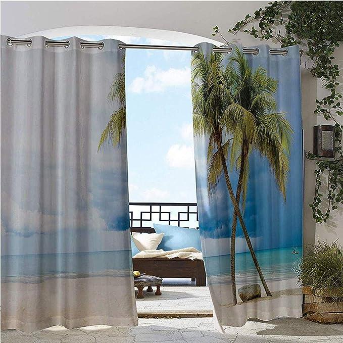 GUUVOR Cortina de privacidad para exteriores, para pergola, flores hawaianas, silueta clásica, adornado, bosque, primavera, alegre imagen, aislado térmico, repelente al agua, cortina para balcón, rojo y blanco: Amazon.es: Jardín