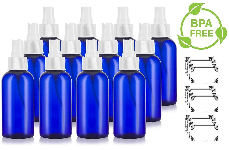 Cobalt Blue 4 oz Boston Round PET Bottles BPA Free with White Fine Mist Sprayer 12 Pack Labels