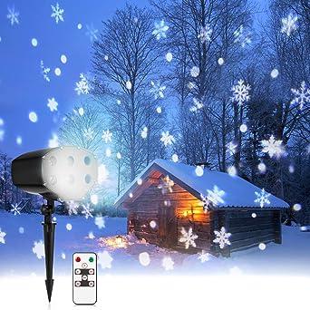 Weihnachtsbeleuchtung Für Aussen Led.Led Weihnachtsbeleuchtung Außen Und Innen Mit Fernbedienung 9w Nacatin Led Projektionslampe Ip65 Schneeflocken Projektor Für Weihnachten Party
