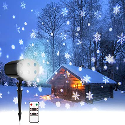Nacatin Snow Lights Projector Led Christmas Lights Outdoor Snow Falling Light Remote Ip65 Waterproof 9w 5m Distance 4 F To 90 F Xmas Halloween