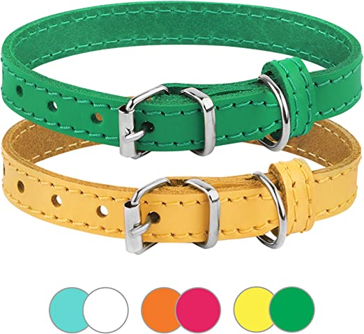 BRONZEDOG Leather Cat Collar Pack of 2 PCS, Pet Collars for Kitten Puppy Small Dogs Cats Yellow Green Pink Orange White Turquoise