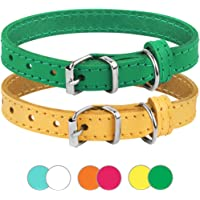 BRONZEDOG Leather Cat Collar Pack of 2 PCS, Pet Collars for Kitten Puppy Small Dogs Cats Yellow Green Pink Orange White…