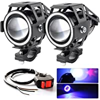 BAOLICY Motorcycle Headlight Cree U7 LED Fog Lights Spotlight Daytime Running Lights with Blue Angel Eyes Halo Ring Hi…