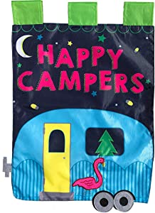 "Briarwood Lane Happy Campers Applique Summer Garden Flag Flamingo Camping 12.5"" x 18"""