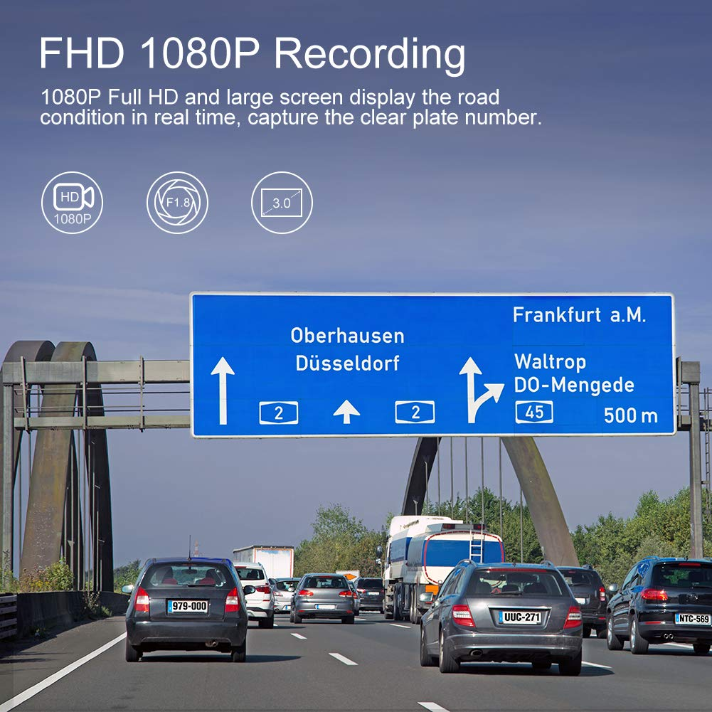 1080P FHD Dashboard Car Camera Recorder with 3 Inch Wide Angle LCD Screen Park Monitor AKASO C320 Dash Cam Loop Recording WDR Built-in G-Sensor Motion Detection