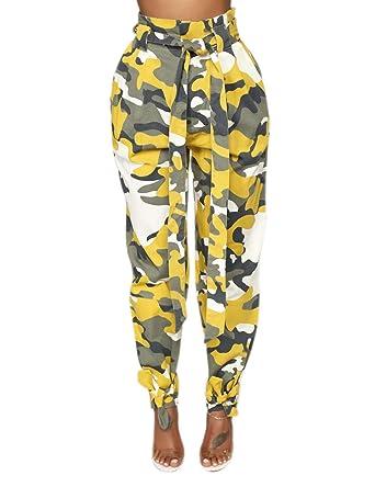 Pantalon Chino Camouflage Femme Taille Haute élastique Grande Tailles  Pantalon de Jogging Femme Losse avec des 3c374a20f60