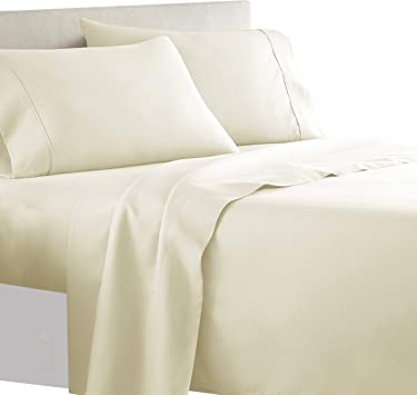 Bed Sheet Set 100 /% Cotton King Deep Pocket 300 Thread Count 4 Piece Sets Cover