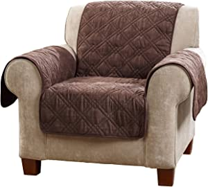Surefit Microfiber Pet Chair One Piece Quilted Furniture Cover, Relaxed Fit, Polyester, Machine Washable, Chocolate