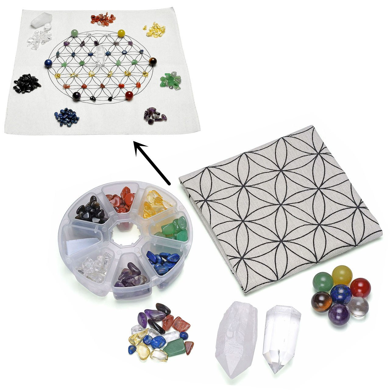 Top Plaza 7 Chakra Healing Crystal Grids Kit/Lot of 7 Chakra Round Beads, Assorted Chip Stones, Clear Quartz Crystal Wands Points Sticks, Flower of Life Sacred Geometry Crystal Grids Altar Cloth