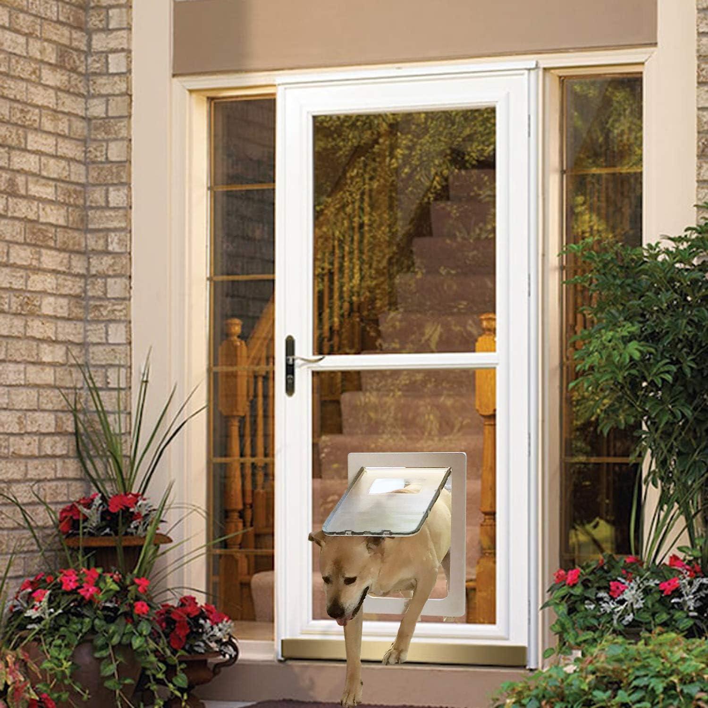 MAVRICFLEX - Puerta de perro extragrande para puerta de tormenta, tamaño de apertura: 16.7 x 11.6 pulgadas, puerta corredera de cristal y patio de hasta 0.3, puerta de pantalla para mascotas con