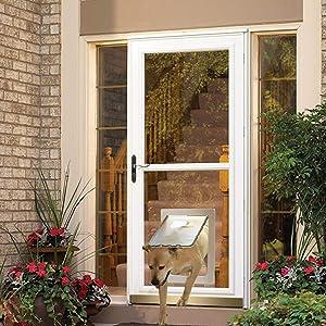 MAVRICFLEX Dog Door, X-Large Dog Door for Storm Door, Opening Size 16.7'' x 11.6'', Sliding Glass Door and Patio Up to 0.3'', Pet Screen Door with White Frame, Lockable Flap Patio Pet Door