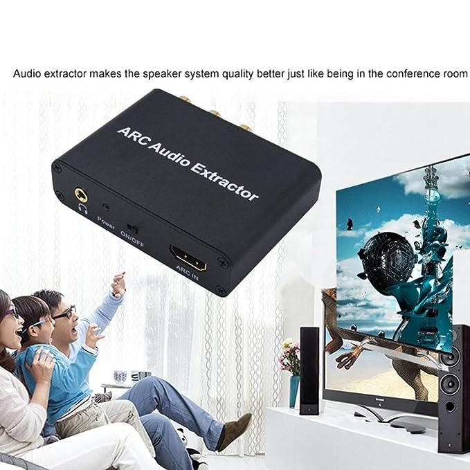 Starter HDMI ARC Adapter, ARC Audio Extractor con óptica digital TOSLINK SPDIF/Coaxial y analógico 3.5mm L/R Audio convertidor estéreo para HDTV Soundbar ...