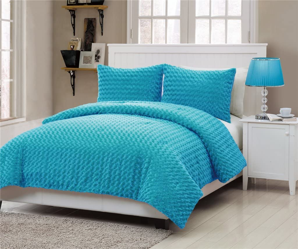VCNY Rose Fur 3-Piece Comforter Set, Full, Blue