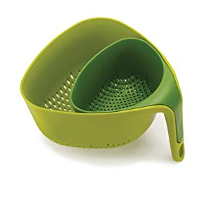 Joseph Joseph 40093 Nest Colanders Stackable Set with Easy-Pour Corners and Vertical Handle 2-piece Green