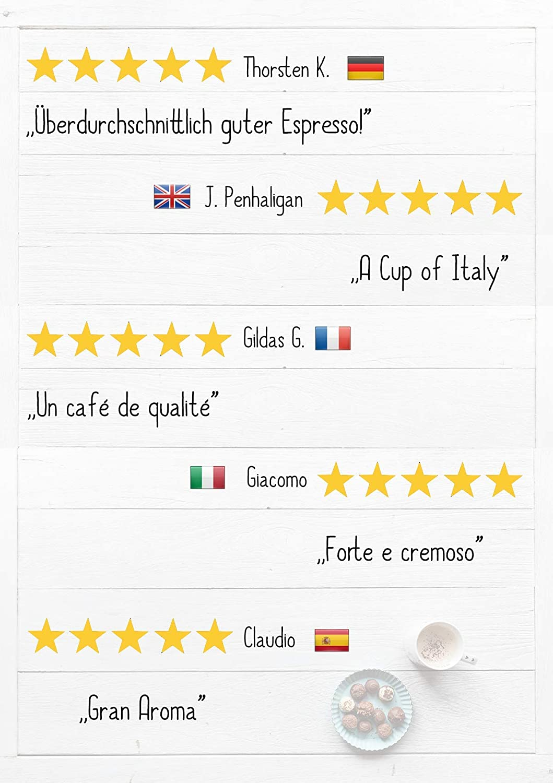 KIQO Classico Espresso | excelente café tostado premium de Italia | tostado suave en lotes pequeños | relativamente bajo en ácido y digerible | 35% Arábica ...