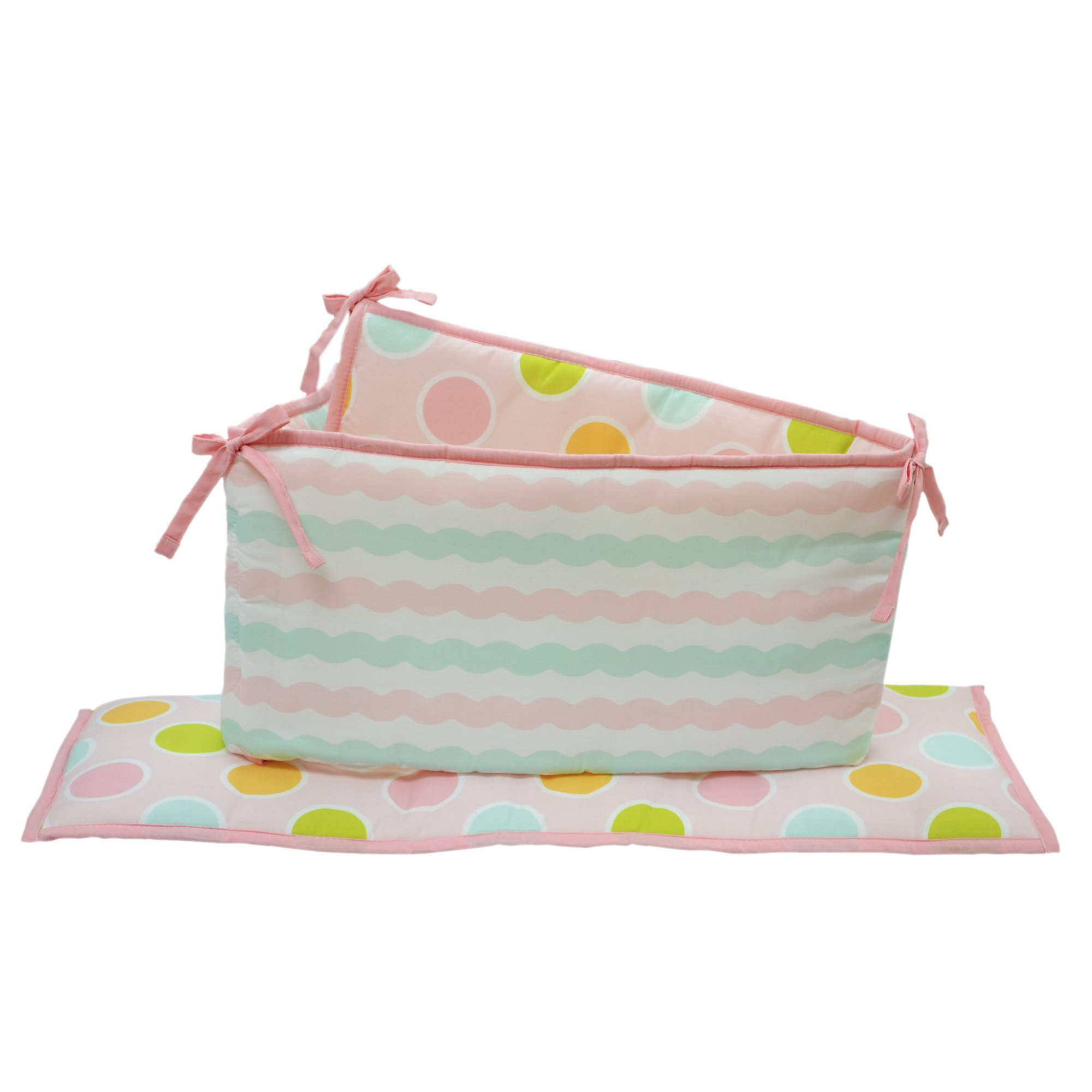 Sea Sweeties Pink and Blue Ocean 5 Piece Baby Girl Crib Bedding with Bumper by Belle by Belle (Image #2)