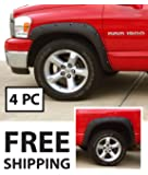 Fender Flares for 2002-2008 Dodge Ram 1500; 2003-2009 Dodge Ram 2500 3500 (Fit Fleetside models) | Fine-Textured Matte Black Pocket Bolt-Riveted Style 4pc