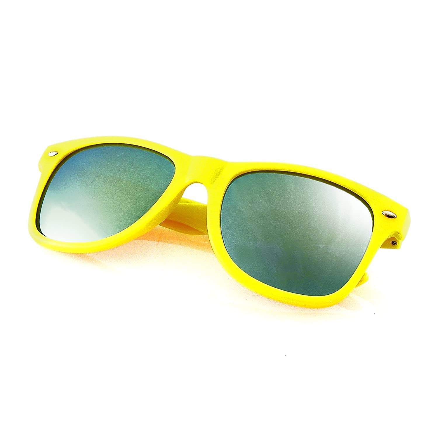 dab27ead05e Flash Color Mirror Reflective Lens Neon Sunglasses (Blue)  Amazon.co.uk   Clothing