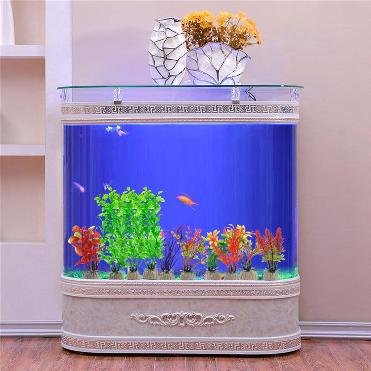 Fish Tank Decorations Home D/écor Plastic Green COMSUN 4 Pack Artificial Aquarium Plants Large Size 10.6 inch Approximate Height