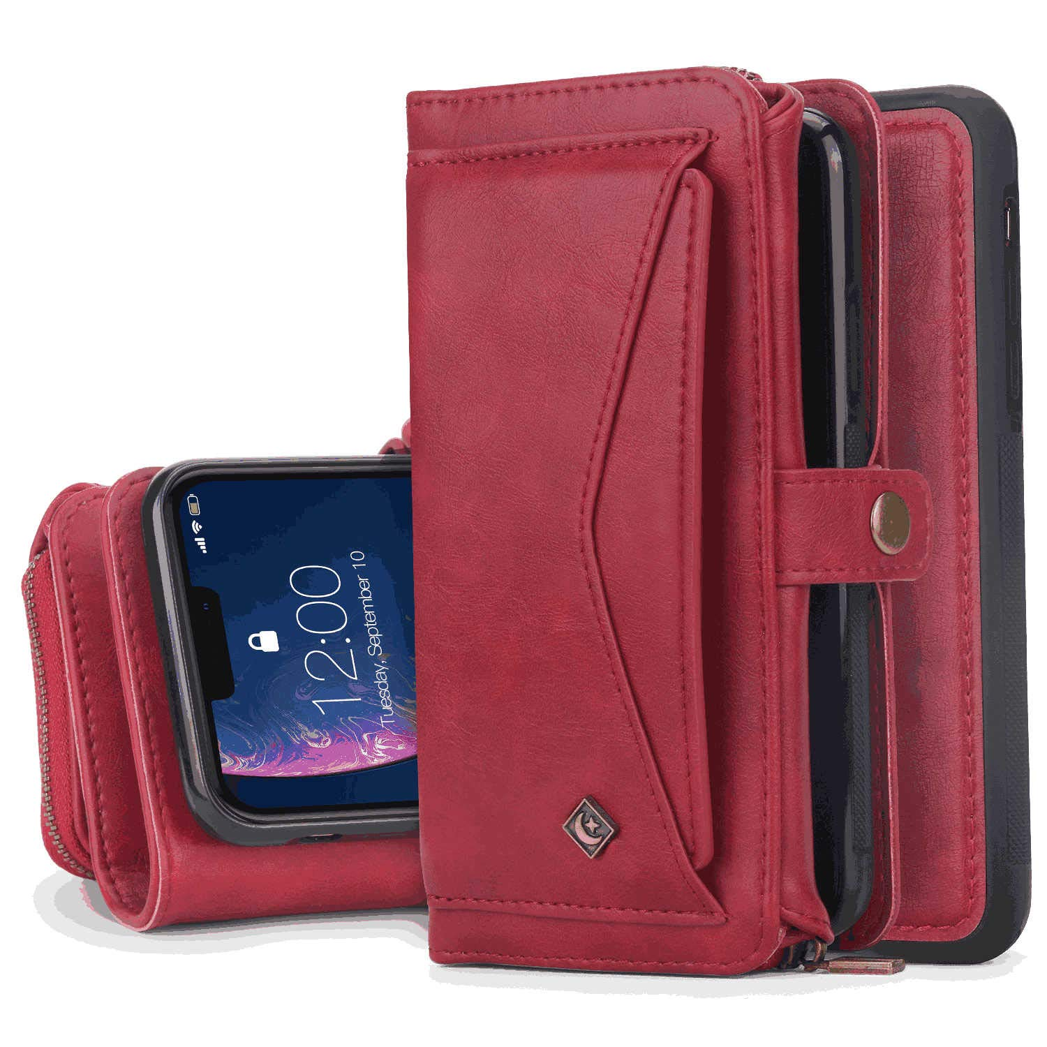iPhone Xs Flip Case Cover for iPhone Xs Leather Extra-Shockproof Business Wallet case Card Holders Kickstand with Free Waterproof-Bag Classical