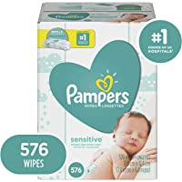 Baby Wipes, Pampers Sensitive Water Based Baby Diaper Wipes, Hypoallergenic and Unscented, 9X Pop-Top Packs, 576 Count Total Wipes