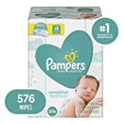 Baby Wipes, Pampers Sensitive Water Baby Diaper Wipes, Hypoallergenic and Unscented, 576 Count Total Wipes