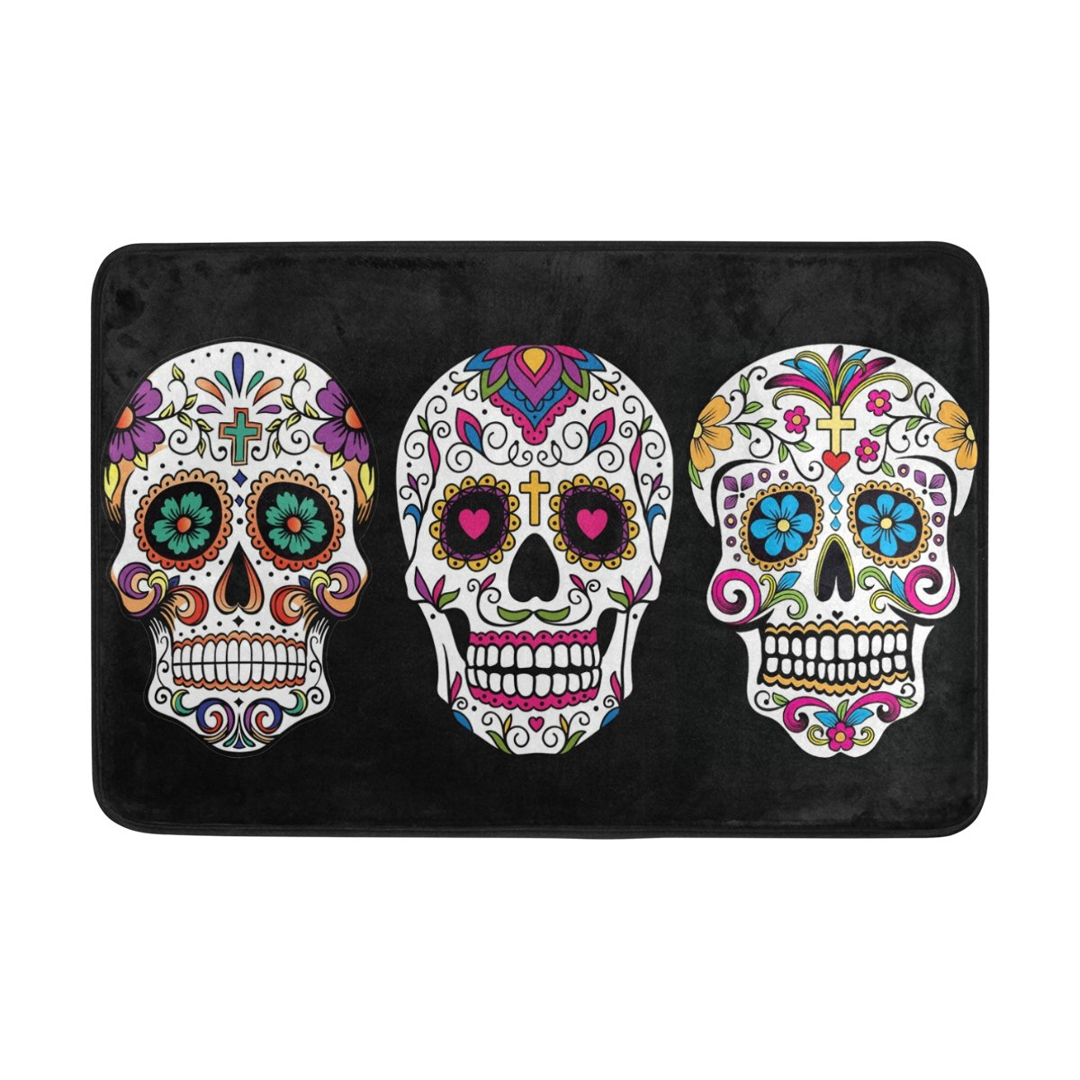 DemonCo Sugar Skull Door Mat Rug, Mexican Dia De Los Muertos Day of The Dead Welcome Mat Doormat Entrance Kitchen Bathroom Mat Rug Outdoor Indoor Decor 23.6 X 15.7 Inches