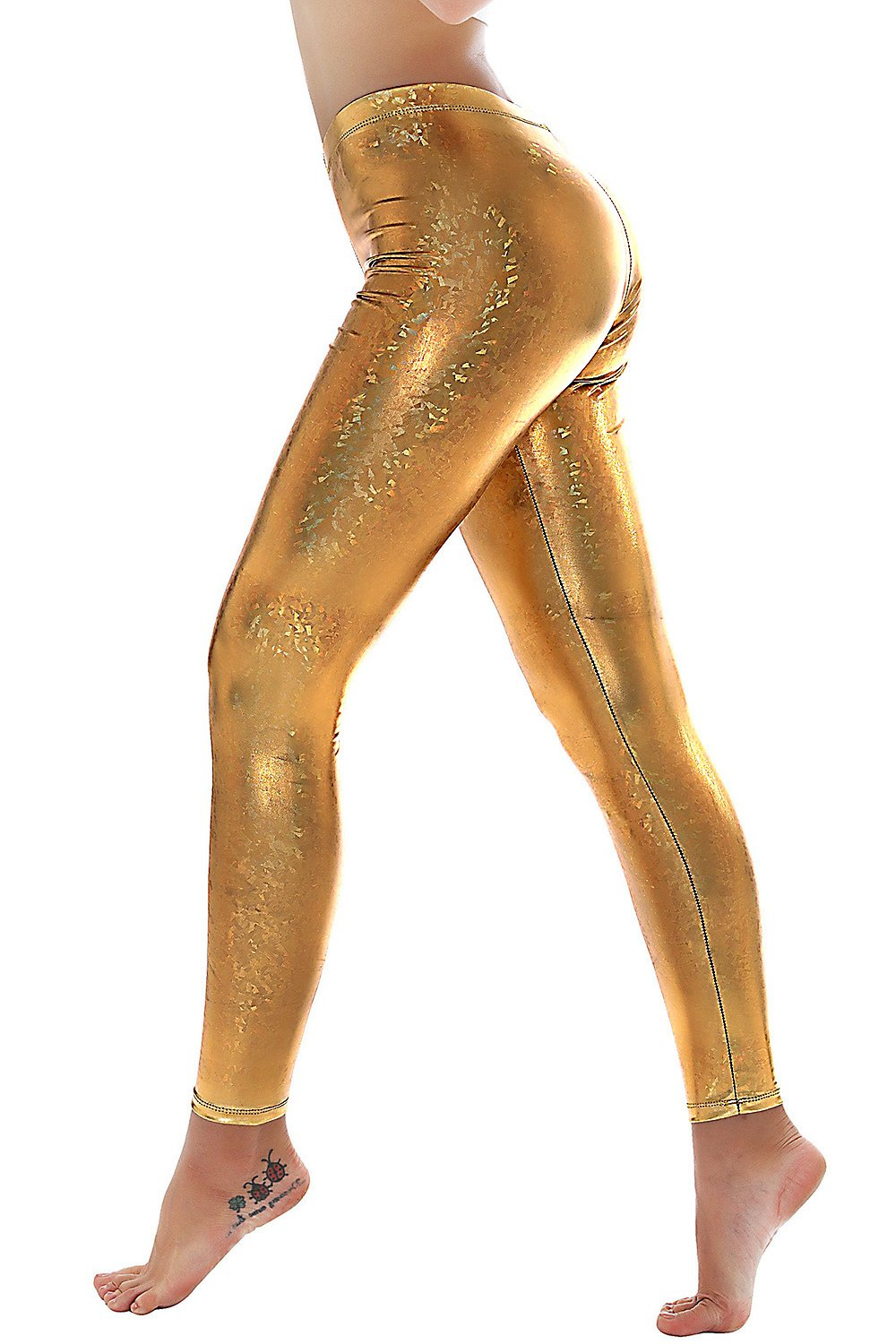 PINKPHOENIXFLY Womens Sexy Shiny Faux Leather Leggings Pants (S, PF9109 Gold)