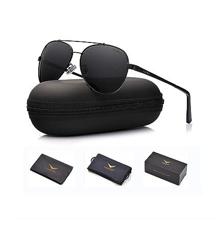 8dcdd276b762 LUENX Men Women Aviator Sunglasses Polarized Non-Mirror Black Lens Black  Metal Frame with Accessories