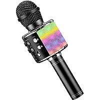 Wireless Bluetooth Karaoke Microphone with controllable LED Lights, JFMShop 4 in 1 Portable Karaoke Machine Speaker for…