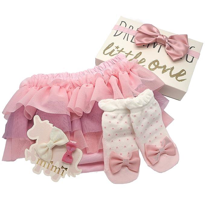 54cb77597b1f1d Amazon | プラチナムベイビー LITTLE ONE ベビー 出産祝い(ピンクグレーSET)ギフト BOX【3段チュールブルマ & 靴下 セット】  | ギフトセット | ベビー&マタニティ 通販