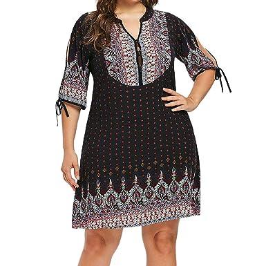 4d92dd3d1e3 2019 Plus Size Dress for Women Boho Ethnic Floral Half Sleeve V Neck Shift  Mini Summer